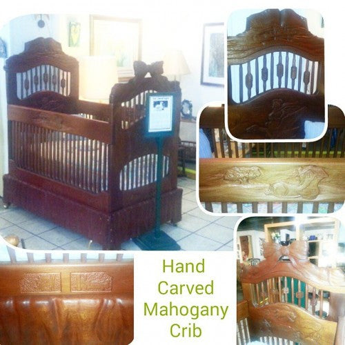 Carved Mahogany Crib