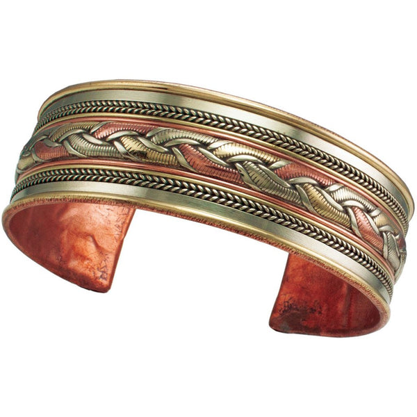 Copper and Brass Cuff Bracelet: Healing Ribbon - DZI (J)