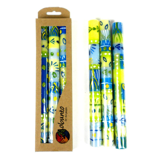 Tall Hand Painted Candles - Three in Box - Ihlobo Design - Nobunto