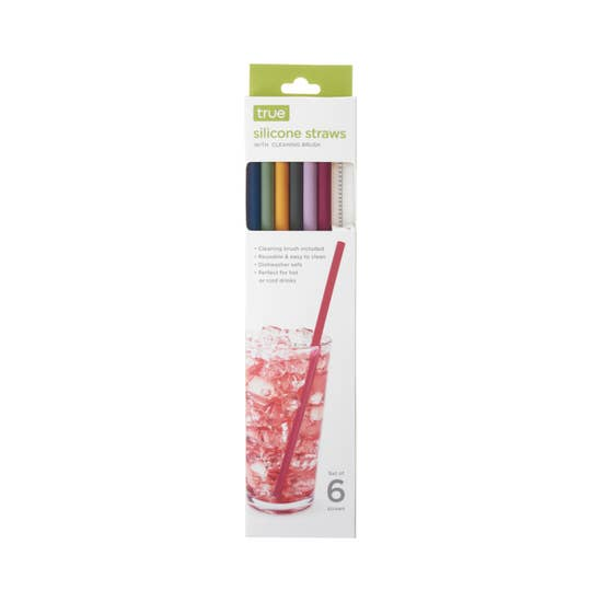 TRUE - Silicone Straws, Set of 6 with Cleaning Brush