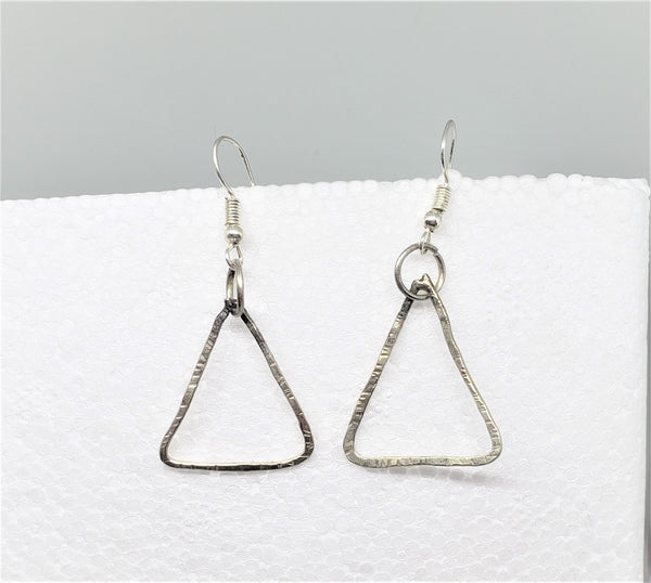 Triangle Earrings - Sterling Silver, Hand Textured - Good World Goods