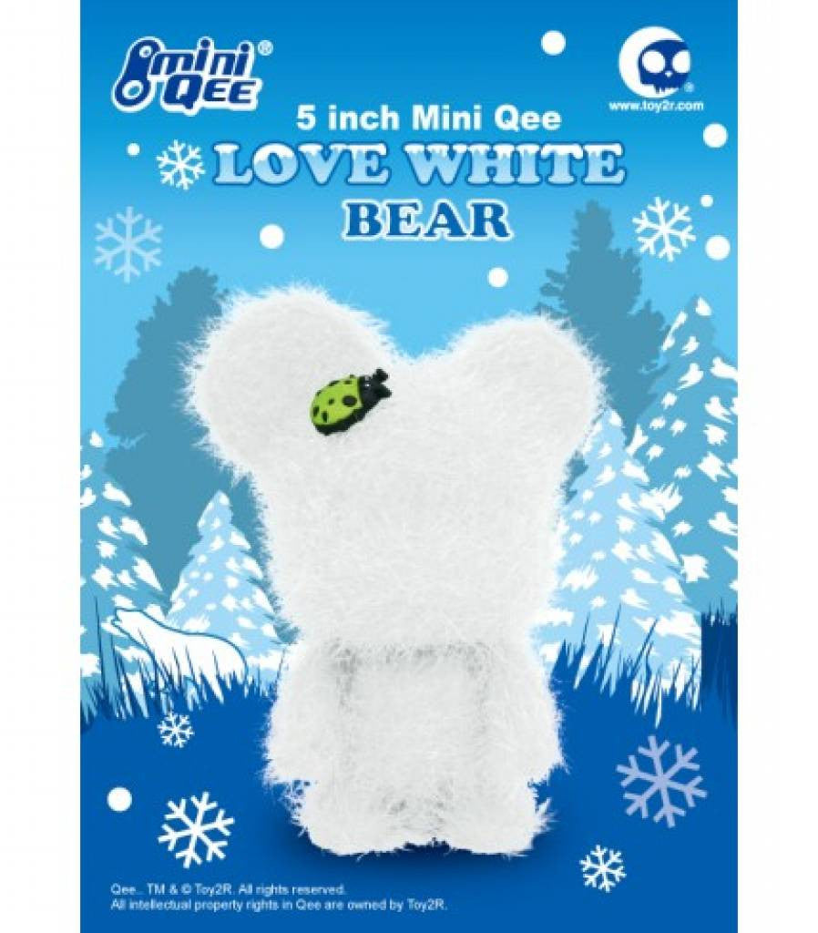 "Qee Love White Bear Faux Frost w Ladybug 5"" Mini Qee vendor-unknown Vinyl Art Toy Tenacious Toys®"