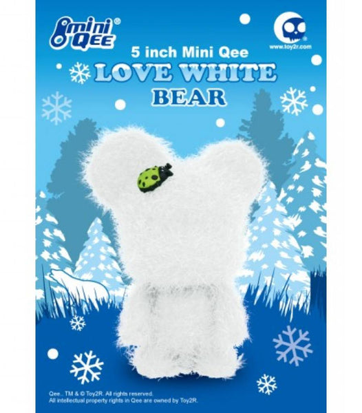"Qee Love White Bear Faux Frost w Ladybug 5"" Mini Qee - Tenacious Toys®"