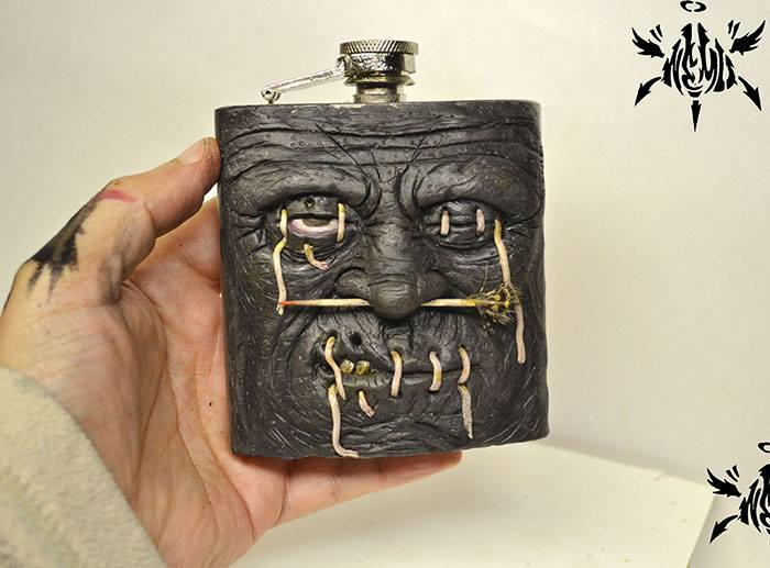 Custom Shrunken Head Stainless Steel Flask by NEMO NEMO Custom Tenacious Toys®