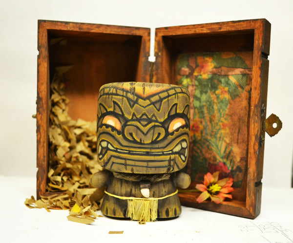 Mahalo Marshall Tiki 3-inch vinyl figure in wooden crate by NEMO
