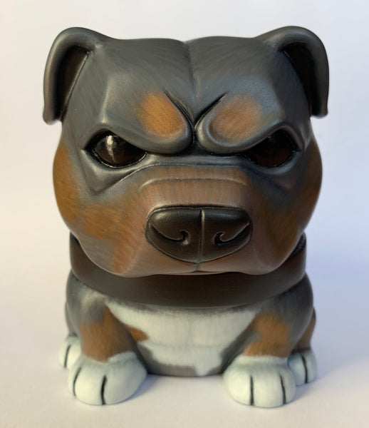 Tricolor Pitbull Danger Dog 5-inch Custom by SokoCat