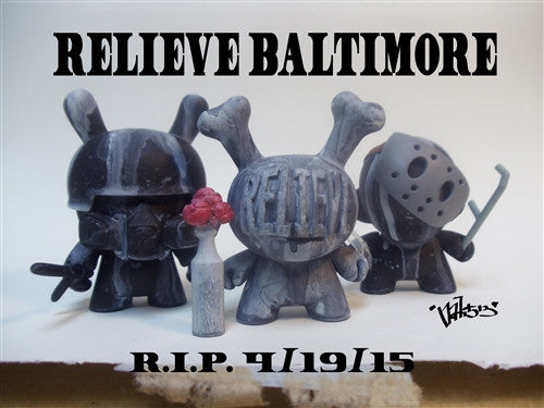 """RELIEVE"" BALTIMORE custom Dunny set with print by nati513 vendor-unknown Custom Tenacious Toys®"