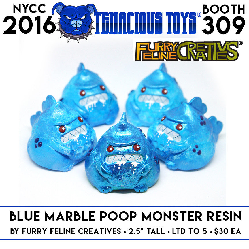 Blue Poop Monster 2.5-inch Resin Figure by Furry Feline Creatives - Tenacious Toys®