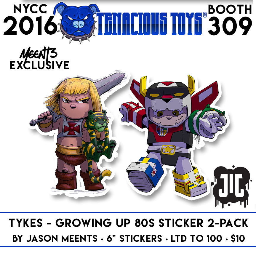 NYCC Exclusive Tykes - Growing up 80s Sticker Pack by Jason Meents Tenacious Toys® Vinyl Art Toy Tenacious Toys®