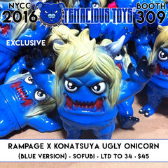 NYCC Exclusive Ugly Onicorn Sofubi (Blue Ver) by RAMPAGE TOYS x KONATSUYA