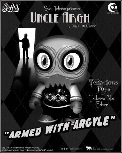 Scott Tolleson Uncle Argh Noir Edition 5-inch Mini Qee by Toy2R Tenacious Exclusive Greyscale Toy2R Vinyl Art Toy Tenacious Toys®