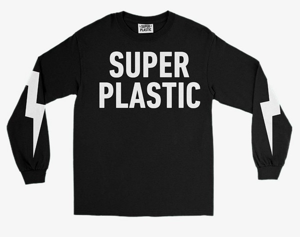 Superplastic Bolt Logo Long Sleeve Tee in Black - Unisex