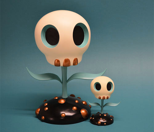 Skull Flower Turquoise Edition Sculpture by Tara McPherson and ToyQube PREORDER