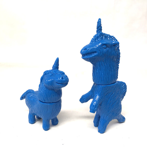 Rampage Toys Giraffeycorn and Shaggy Unicorn set blank blue micro sofubi