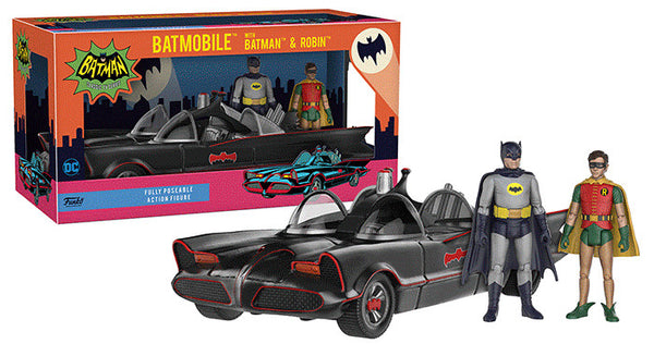 Funko 11-inch 1966 Batmobile Playset with Batman and Robin 3.75-inch action figures