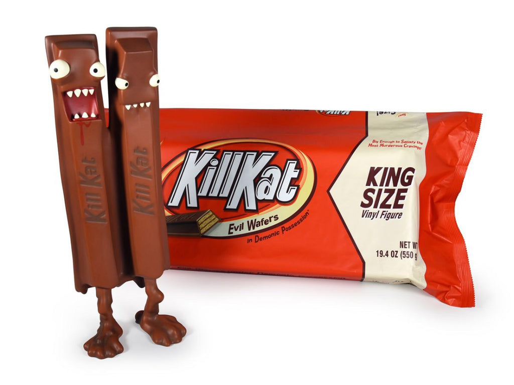 King Size 14-inch Kill Kat Milk Chocolate Edition by Andrew Bell Dead Zebra Andrew Bell Vinyl Art Toy Tenacious Toys®