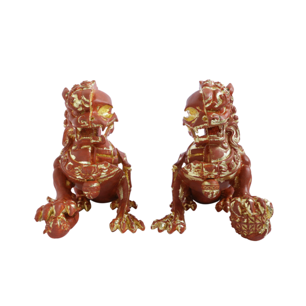 XXRAY Plus 8-inch Foo Dogs 2-piece set Terracotta Edition by Mighty Jaxx