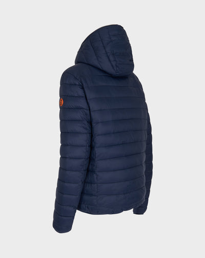 Men's Faux Sheepskin Hooded Jacket in Navy Blue