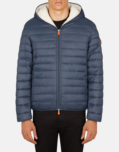 Save The Duck Men's GIGA Winter Hooded Puffer Jacket with Faux Sherpa Lining