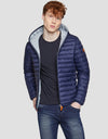 Men's GIGA Hooded Puffer Jacket in Navy Blue
