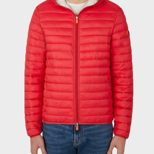 Mens GIGA Puffer Hooded Jacket in Tomato Red