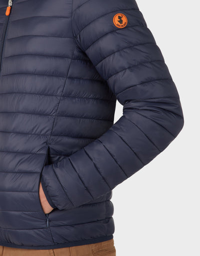 Mens GIGA Puffer Hooded Jacket in Blue Black