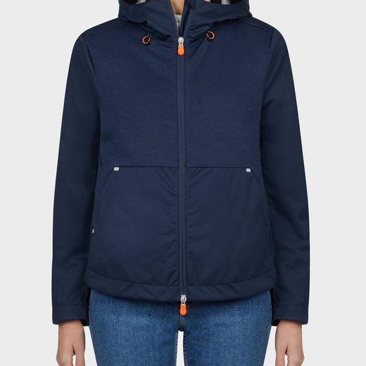 Womens FEBA Hooded Jacket in Navy Blue