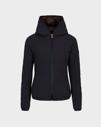 Womens MATT Hooded Jacket in Brown Black