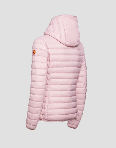 Women's GIGA Hooded Puffer Jacket in Blush Pink