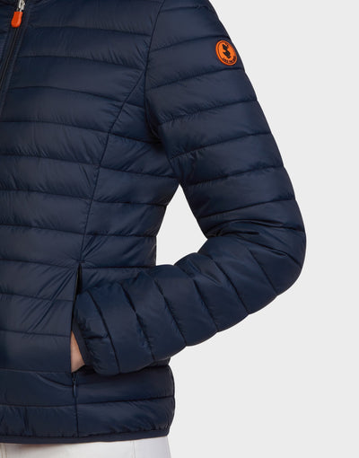 Womens GIGA Hooded Jacket in Navy Blue