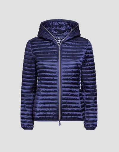 Women's IRIS Hooded Puffer Jacket in Blue Black