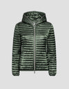 Womens IRIS Hooded Puffer Jacket in Cactus Green
