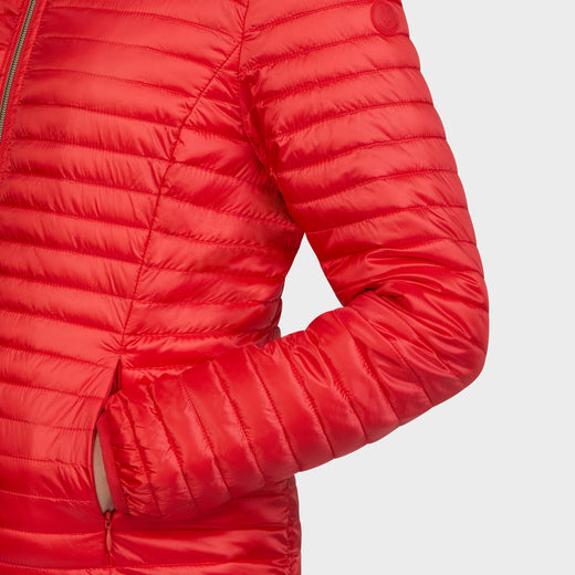 Womens IRIS Hooded Jacket in Hibiscus Red