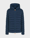 Men's ANGY Quilted Hooded Jacket in Navy Blue Melange