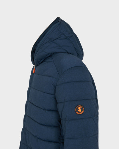 Mens ANGY Quilted Hooded Jacket in Navy Blue Melange