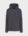 Men's ANGY Quilted Hooded Jacket in Charcoal Grey Melange