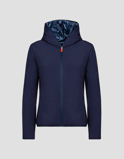Womens MATY Hooded Jacket in Blue Black