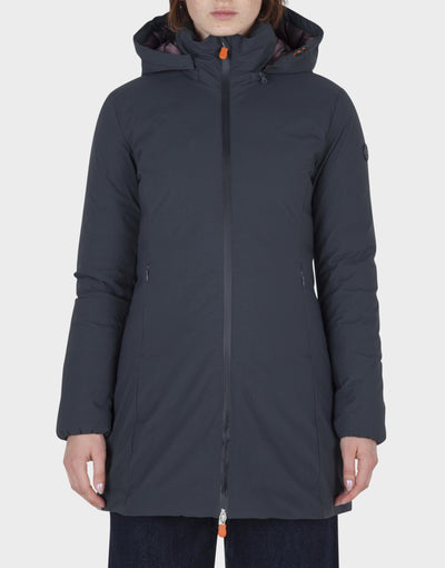 Womens MATT Removable Hooded Coat in Grey Black