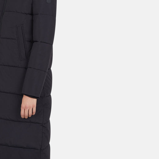 Womens Hooded Long Quilted Coat in MILE