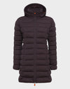 Womens ANGY Hooded Coat in Burgundy Black