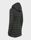 Womens SOLD Knitted Hooded Coat in Green Black