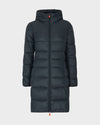Womens GIGA Hooded Coat in Green Black