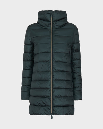 Women's IRIS Quilted Coat in Green Black