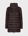 Womens IRIS Quilted Coat in Burgundy Black