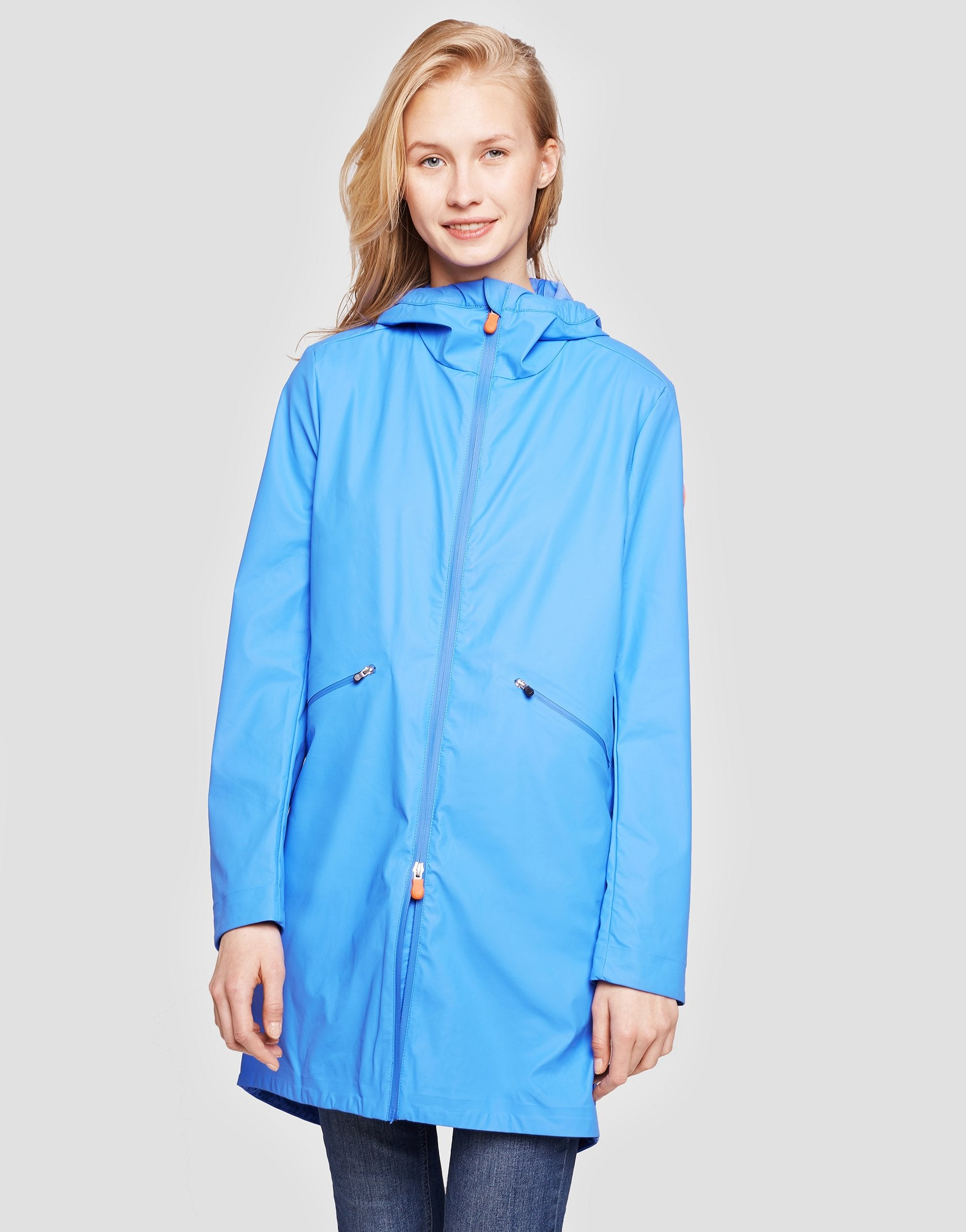 Womens RAIN Hooded Coat in Navy Blue