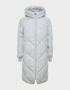 Womens RECY Quilted Hooded Coat in Frozen Grey