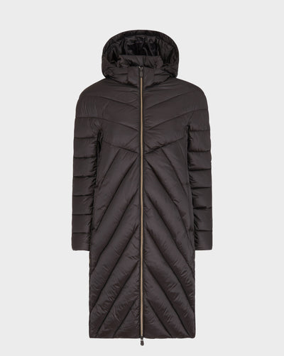 Womens IRIS Hooded Coat in Brown Black