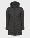 Womens RECY Hooded Quilted Coat in Brown Black