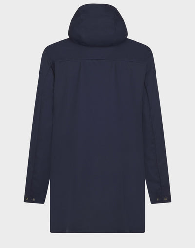 Mens BARK Hooded Coat in Navy Blue