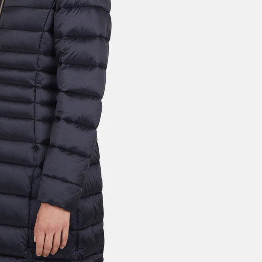 Womens Hooded Long Quilted Coat in IRIS
